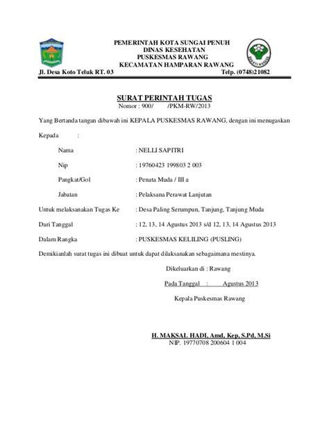 Surat Perintah Tugas by Surat Perintah Tugas Puskesmas Rawang Kota Sungai Penuh