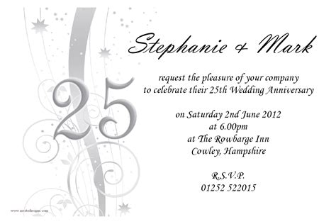 25th anniversary invitation card templates amazing 25th wedding anniversary invitations theruntime