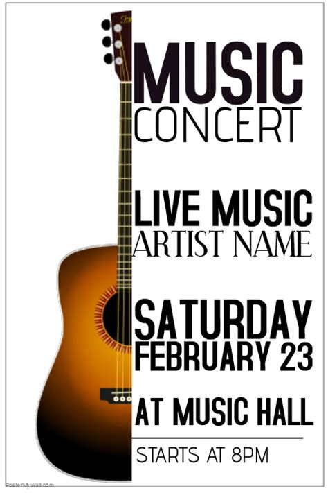 templates for music posters acoustic guitar live music concert poster template