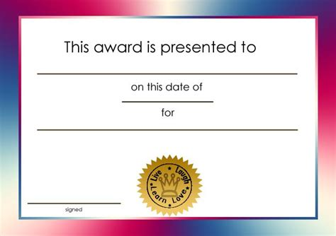 customized free printable awards certificates free