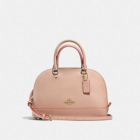 coach f13310 mini satchel in crossgrain leather with multi edgepaint imitation gold