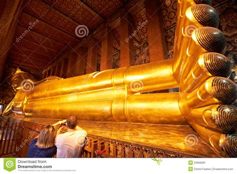 golden reclining buddha bangkok big reclining golden buddha statue editorial photo image