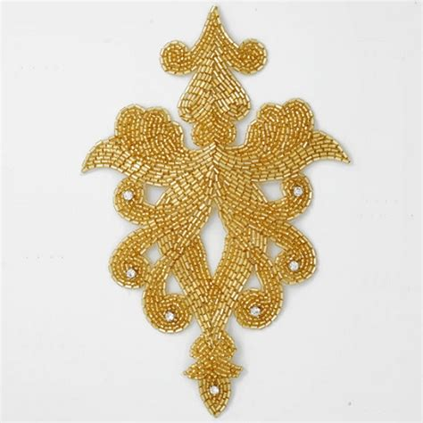 gold applique rhinestone beaded applique patch joyce trimming