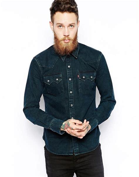 Original Levis Sawtooth Western Shirt Kemeja Black levis levi s denim shirt slim fit sawtooth western black