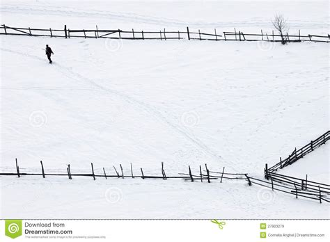 man walking on the carpet of snow royalty free stock