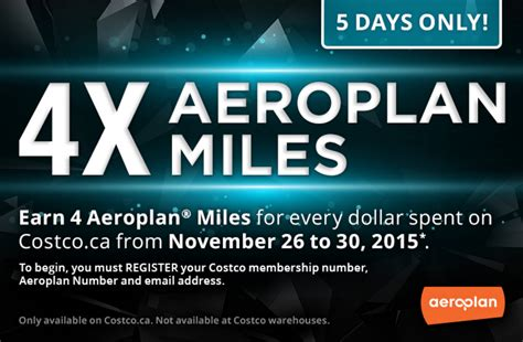 How To Redeem Aeroplan Points For Gift Cards - canadian rewards costco 4x aeroplan miles