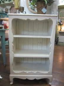 Vintage shabby chic hand painted bookcase bead board back distressed