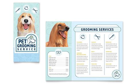 grooming flyers template pet grooming service brochure template design