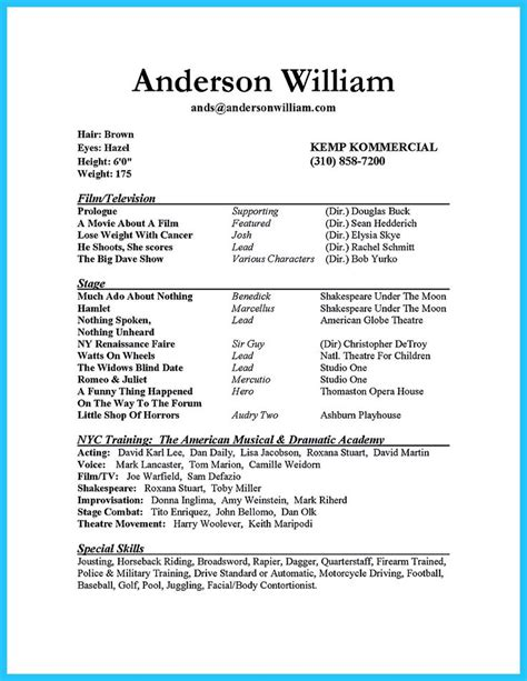 how to make an acting resume for beginners 28 images