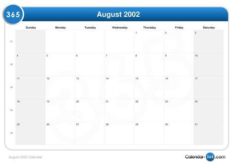 August 2002 Calendar August 2002 Calendar