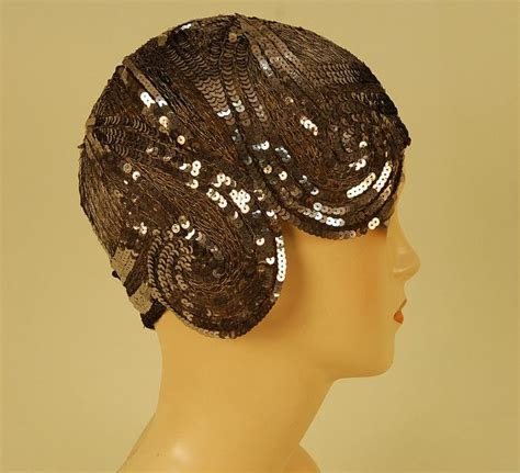 fixing of hair skull cap two sequinned net flapper skull caps 1920 s both with