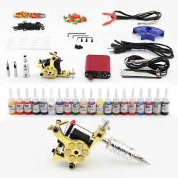 tattoo kit coils machine 20 inks needles power supply
