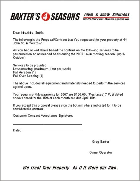 Free Lawn Care Contract Forms Landscaping Contract Template