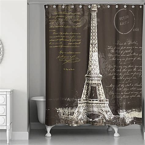 paris curtains bed bath beyond designs direct painterly paris shower curtain in black