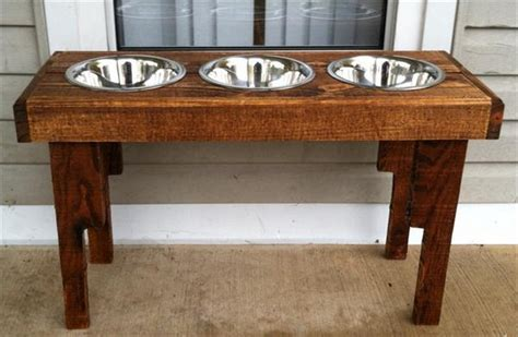 food bowl stand diy pallet bowl stand plans pallet wood projects