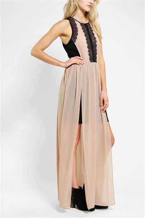 Grosir Murah Dress Hazel Maxi Calvin outfitters hazel color block chiffon lace maxi dress in black neutral multi lyst