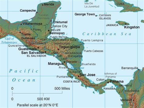 central america and the caribbean physical map 302 found