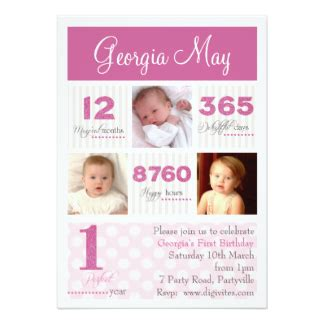 1st Birthday Invitation Card For Baby Baby First Birthday Invitations Announcements Zazzle