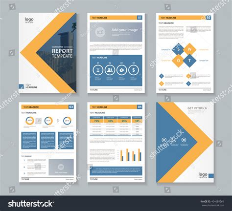 corporate template company profile annual report brochure fl stock vector