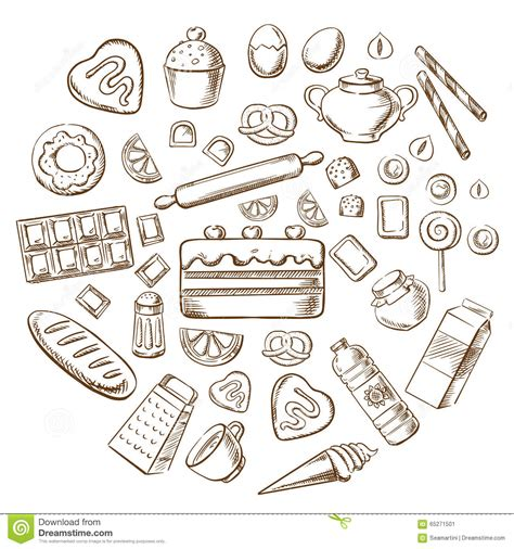 Kitchen Design Tampa pastry dessert and bakery sketch icons stock vector