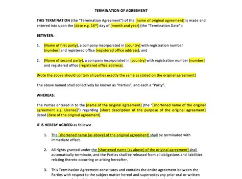 template of termination of contract termination of agreement template uk template agreements