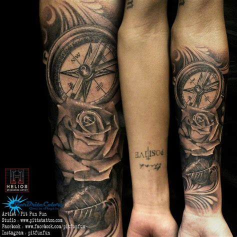 pitbull tattoo edmonton instagram realistic compass and rose tattoo by pit fun facebook