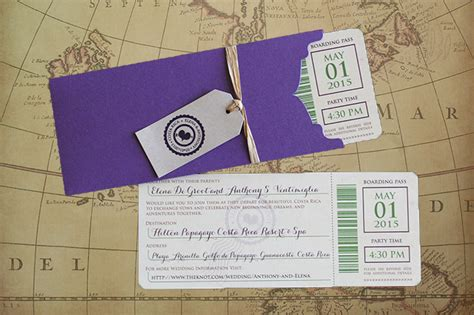 Home Design Essentials Boarding Pass Wedding Invitation Costa Rica Wedding