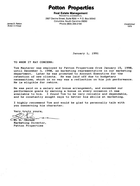 Letter Of Recommendation Sle For Employee employment reference letter 10 employment reference