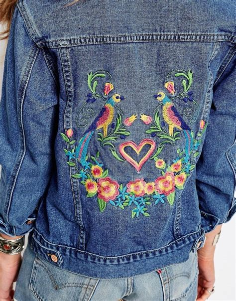 embroidery denim glamorous denim jacket with bird and floral