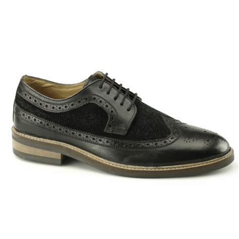 gucinari frankie mens leather suede brogue shoes black