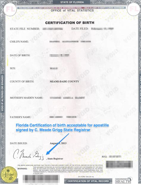 Miami Birth Records Florida Apostille Apostille Service By Apostille Net