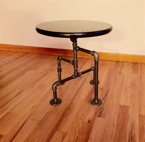 Industrial black pipe table end table man cave table bar