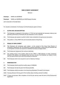 employment contract template download free documents for
