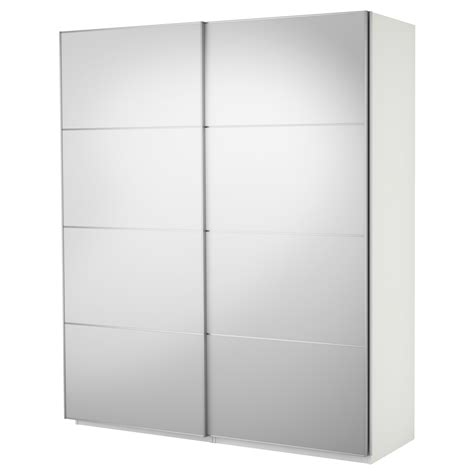 Glass Mirror Wardrobe Doors by Pax Wardrobe With Sliding Doors White Auli Mirror Glass 200x66x236 Cm Ikea