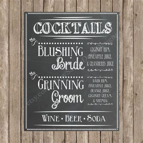 custom chalkboard wedding signature cocktail sign