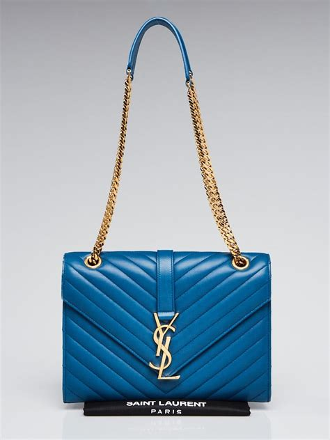 yves saint laurent indigo chevron quilted leather monogram