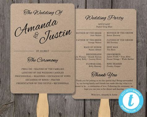 program paper templates printable wedding program template fan wedding program