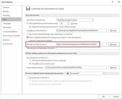 reset sharepoint online to default group policy for office 2016 default save location to a