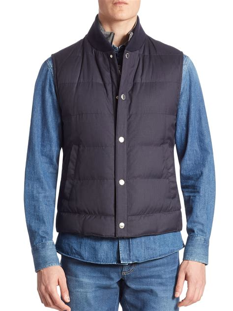 Quilted Wool Vest by Brunello Cucinelli Quilted Wool Vest In Blue For Lyst