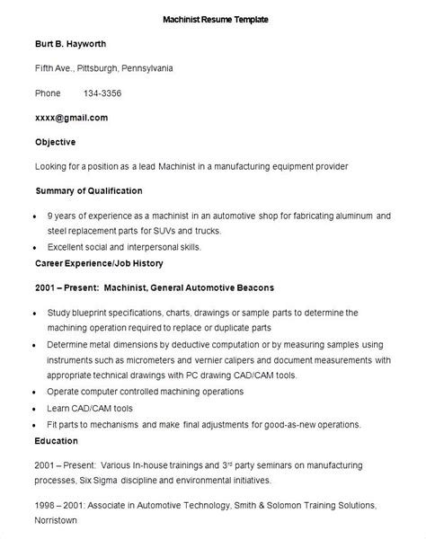 Machinist Resume by Sle Machinist Resume Template Free Sles Exles