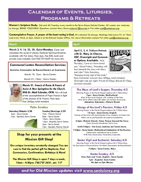 San Luis Rey Community Newsletter Lent Easter 2015 Tenant Newsletter Template