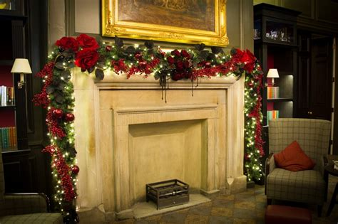 fireplace garland christmas pinterest