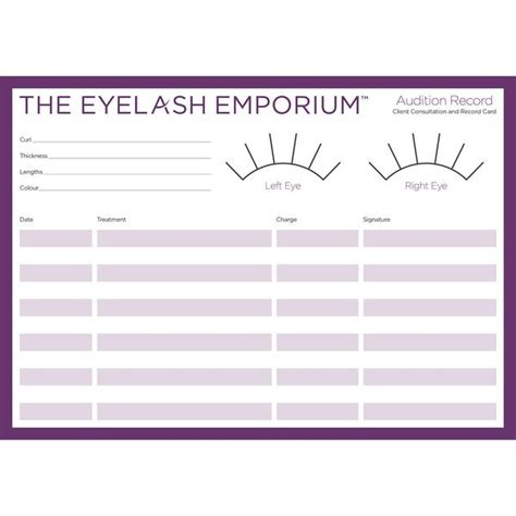 eyelash extensions record card template record consultation cards for eyelash extension clients