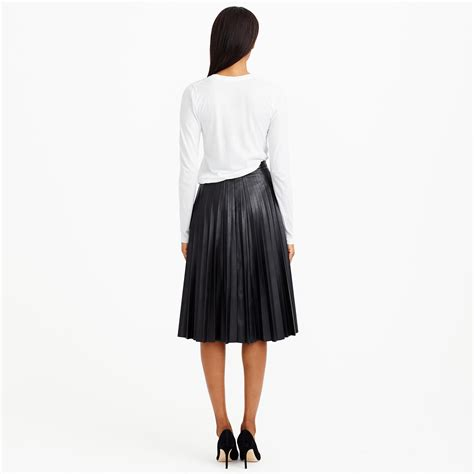 j crew faux leather pleated midi skirt in black lyst