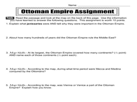 Ottoman Empire Lesson Plans The Ottoman Empire 7th 10th Grade Worksheet Lesson Planet
