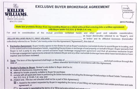 Signing An Exclusive Buyer Agency Agreement Exclusive Brokerage Agreement Template