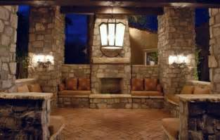outdoor living room with fireplace concrete brick stone contractor services