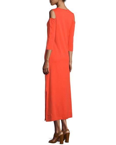 Maxi A Line Jersey Premium joan vass cold shoulder a line jersey maxi dress poppy orange