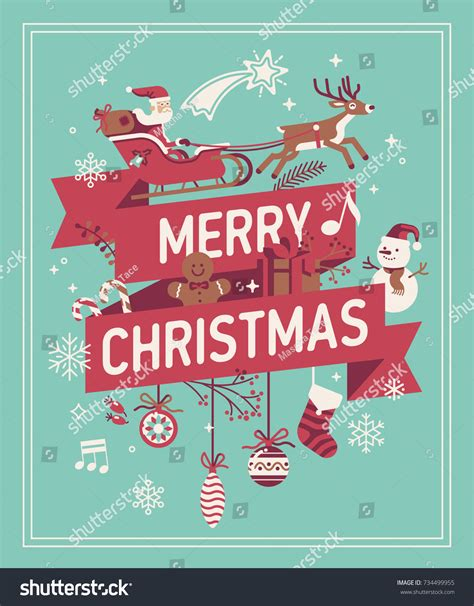 merry greeting card template merry decorative background vector banner stock