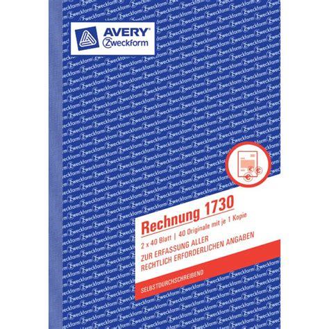 Avery Folie Muster by Avery Zweckform Vordruck Rechnung 3 Fach Satz Sd A4 2397